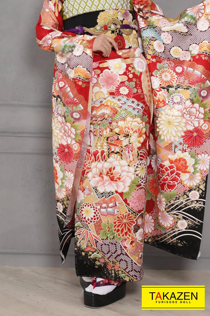 【成人式人気着物/レンタルフルセット/通販可】上品綺麗古典(大人っぽいボタン柄) 赤/白/黒 YK0094