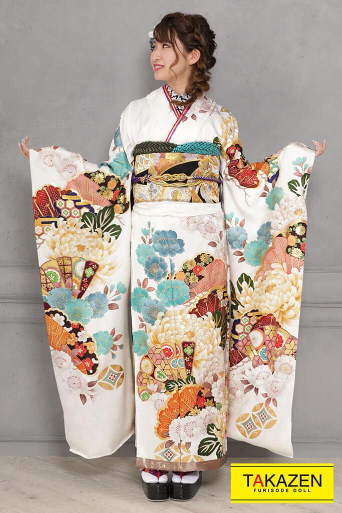 【成人式人気着物/レンタルフルセット/通販可】かっこいい上品綺麗古典(大人っぽい乱菊柄) 白/ブルー(水色) YK0104