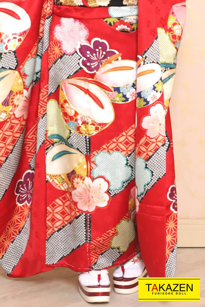 かわいい絞り風上品古典(おしとやかシンプル) 赤/黒 YK0114