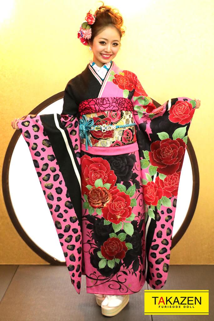 【成人式人気着物/レンタルフルセット/通販可】派手かわいいモード(目立つヒョウ柄) 黒/ピンク YK0122