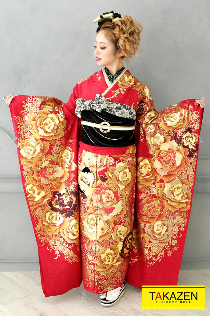 【成人式人気着物/レンタルフルセット/通販可】高級派手1番目立つモード(かっこいいバラ柄) 赤/ゴールド(金色)♡YK0128