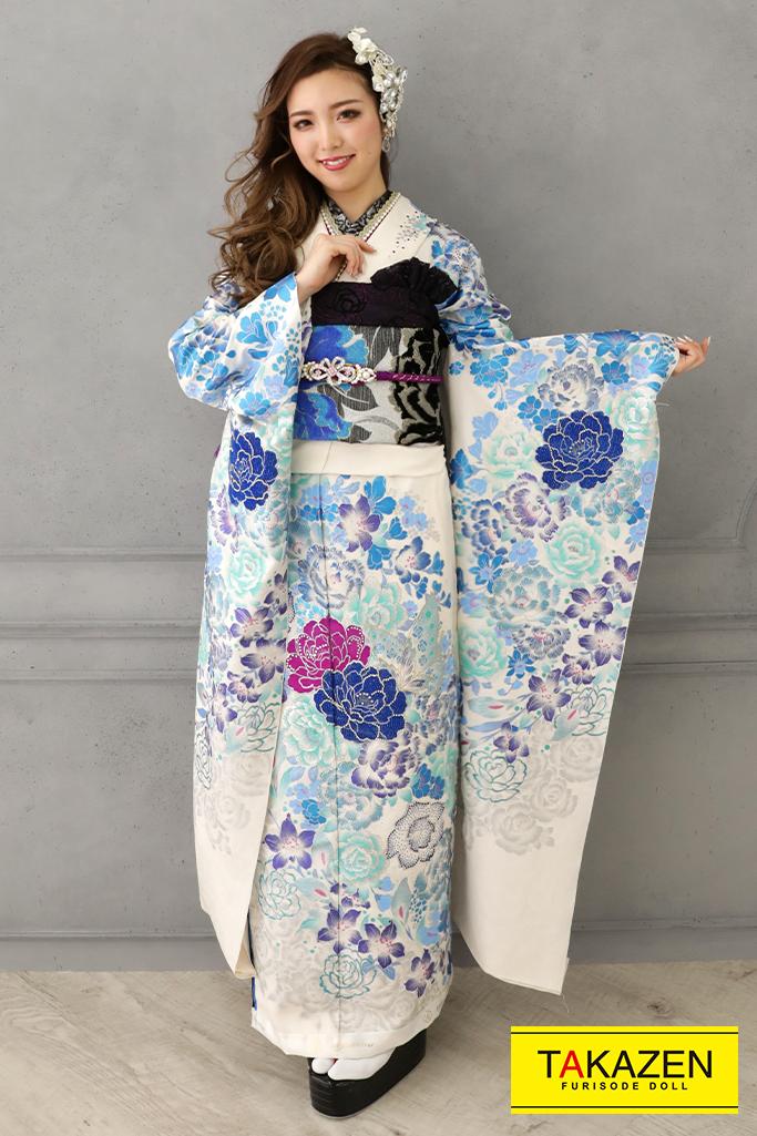 【成人式人気着物/レンタルフルセット/通販可】シンプルクール系(かっこいい牡丹柄) 白/紫/ブルー(青色)♡YK0139