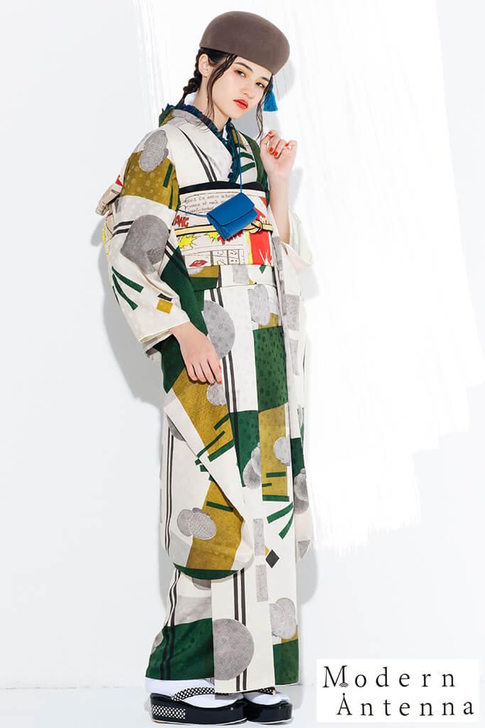 【成人式振袖/レンタルフルセット/通販可】新作個性的レトロモダン振袖(モダンアンテナ幾何学模様) からし/白/グリーン(緑色) K0170