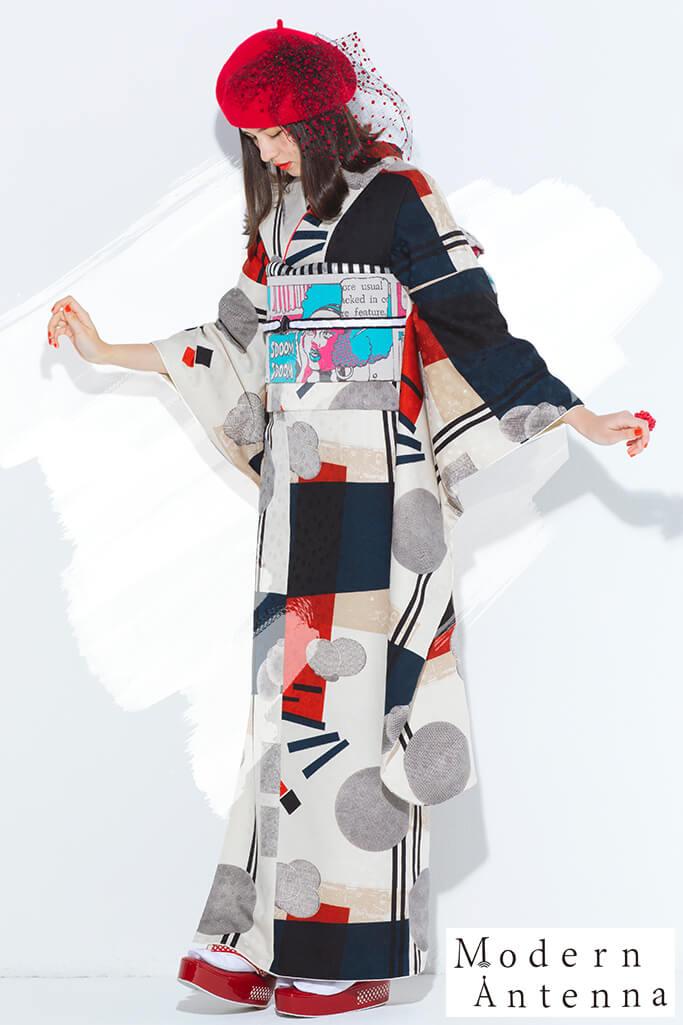 【成人式着物/レンタルフルセット/通販可】新作個性的レトロモダン振袖(クラッシック幾何学模様) 紺/赤/グレー K0171