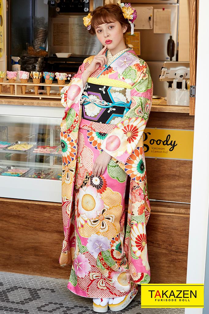 【成人式人気着物/レンタルフルセット/通販可】可愛いおしゃれレトロ古典(ポップ) ピンク/黄色 pb-33201