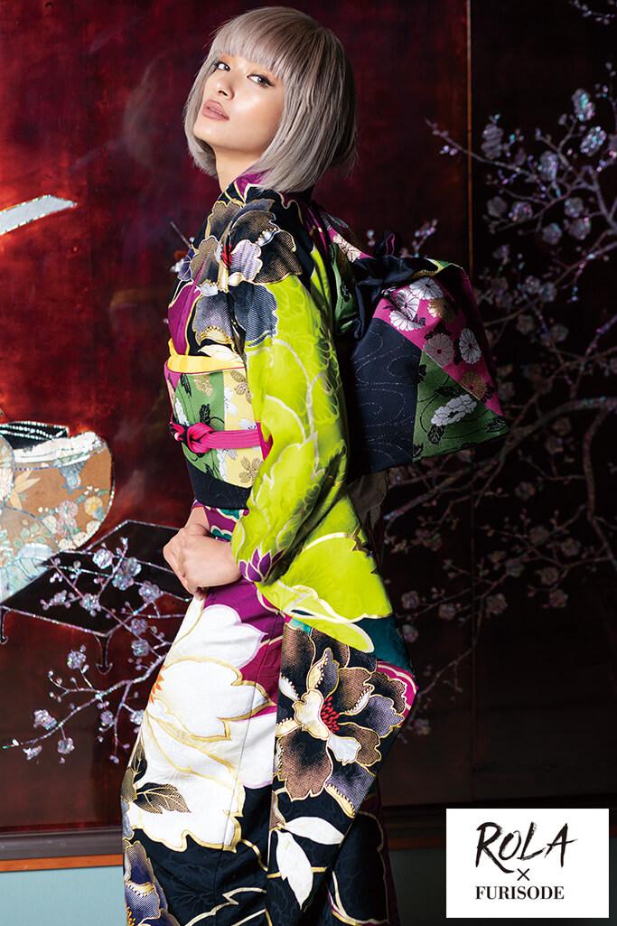 【成人式人気着物/レンタルフルセット/通販可】ローラ個性的目立つ古典(派手かわいい大柄) 紫/黒/グリーン(黄緑色) K0181