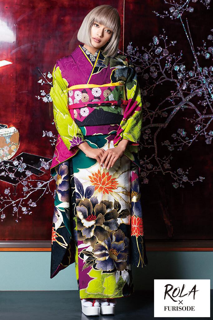【成人式人気着物/レンタルフルセット/通販可】個性的目立つ古典(派手かわいい大柄) 紫/黒/グリーン(黄緑色) K0181