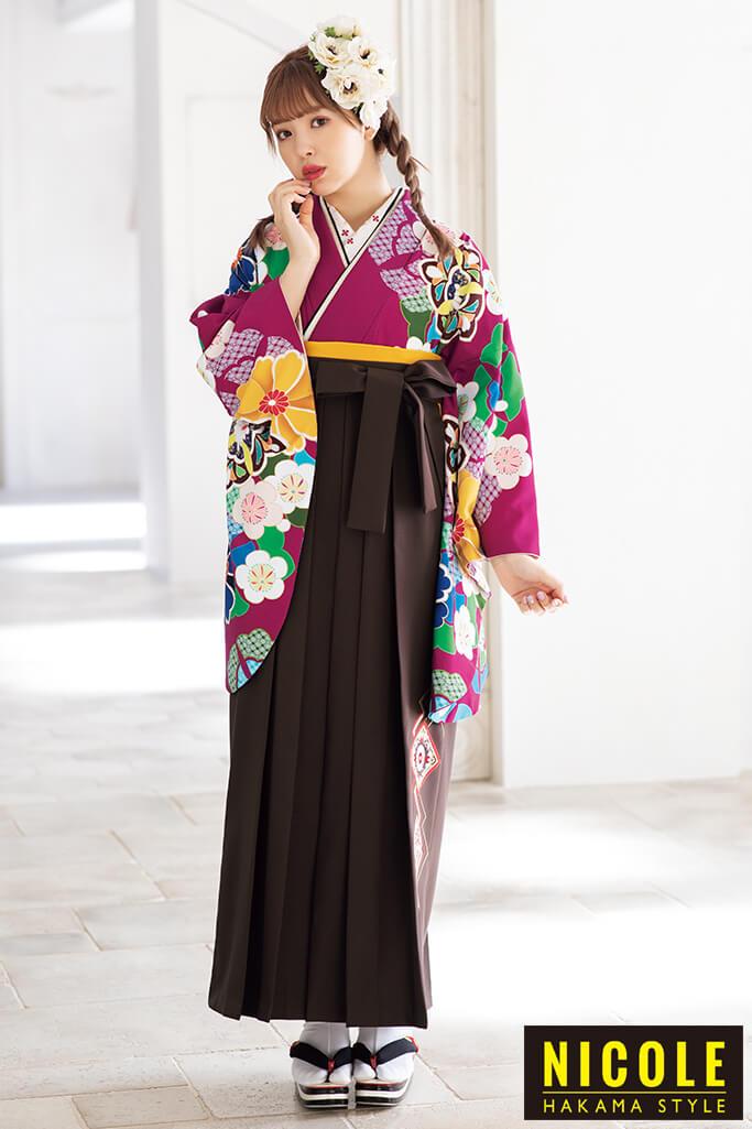 【卒業式袴レンタル/通販可】個性的目立つレトロ(派手かわいい) 白/黄/ワインレッド R21060