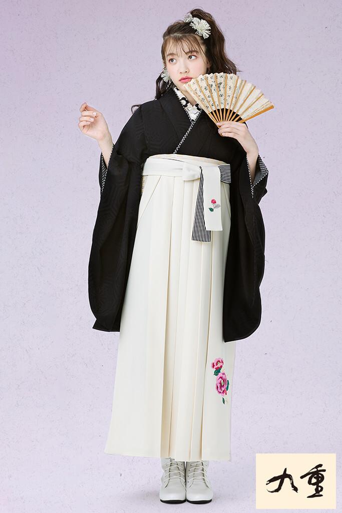 【卒業式袴レンタル/通販可】人と被らない無地古典(シンプルかわいい) 黒 K21049