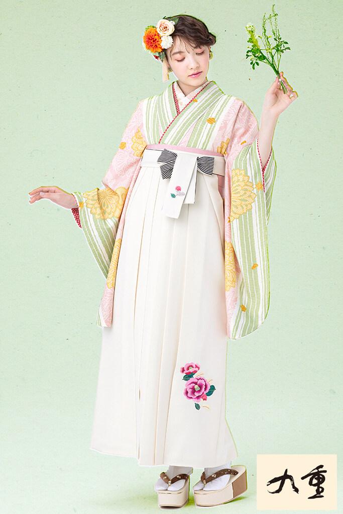 【卒業式袴レンタル/通販可】かわいい華やか古典(パステルカラー) 白/ピンク/グリーン(黄緑) K21052