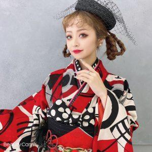中華メイク 赤黒振袖