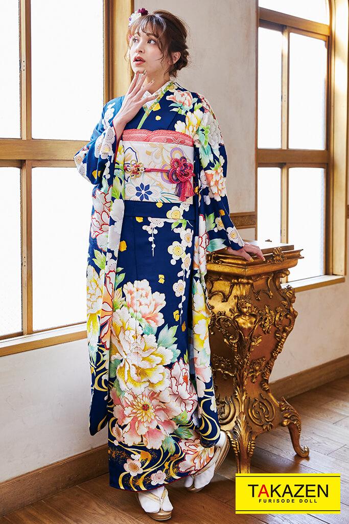 【成人式人気着物/レンタルフルセット/通販可】上品大人っぽい古典(古風牡丹柄) 紺/ブルー(青色) K0189