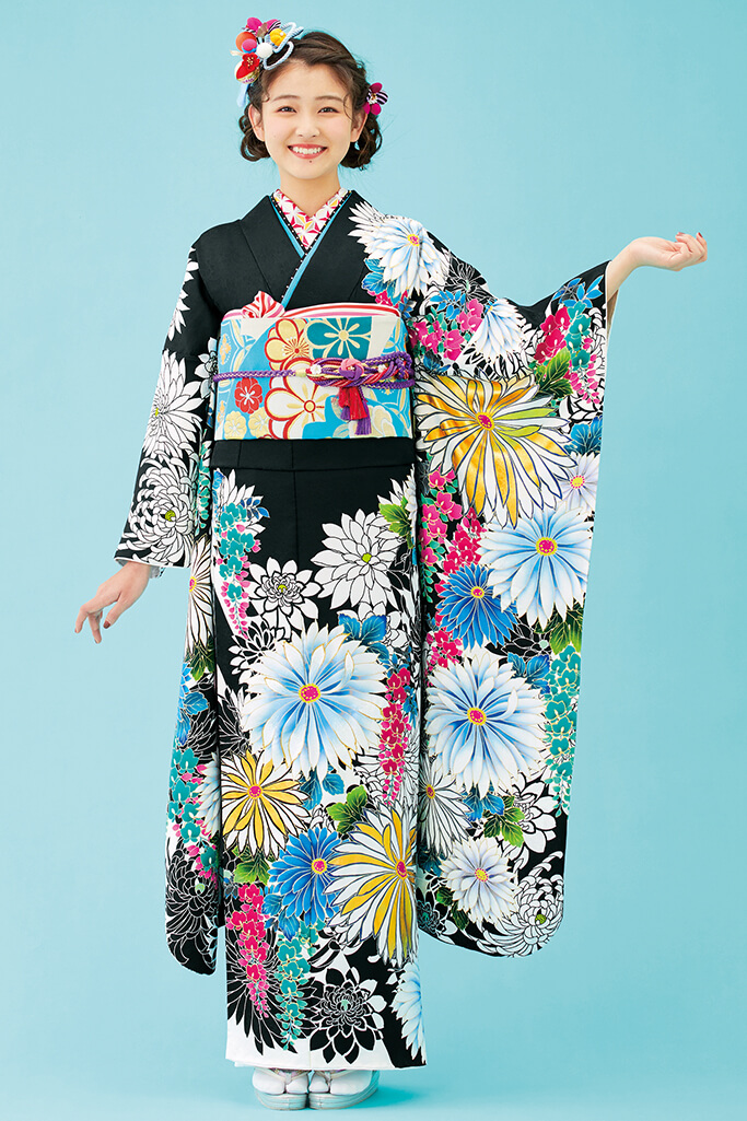 【成人式人気着物/レンタルフルセット/通販可】大人っぽい古風古典(かっこいい菊柄) 黒/白/ブルー(青色) K0199