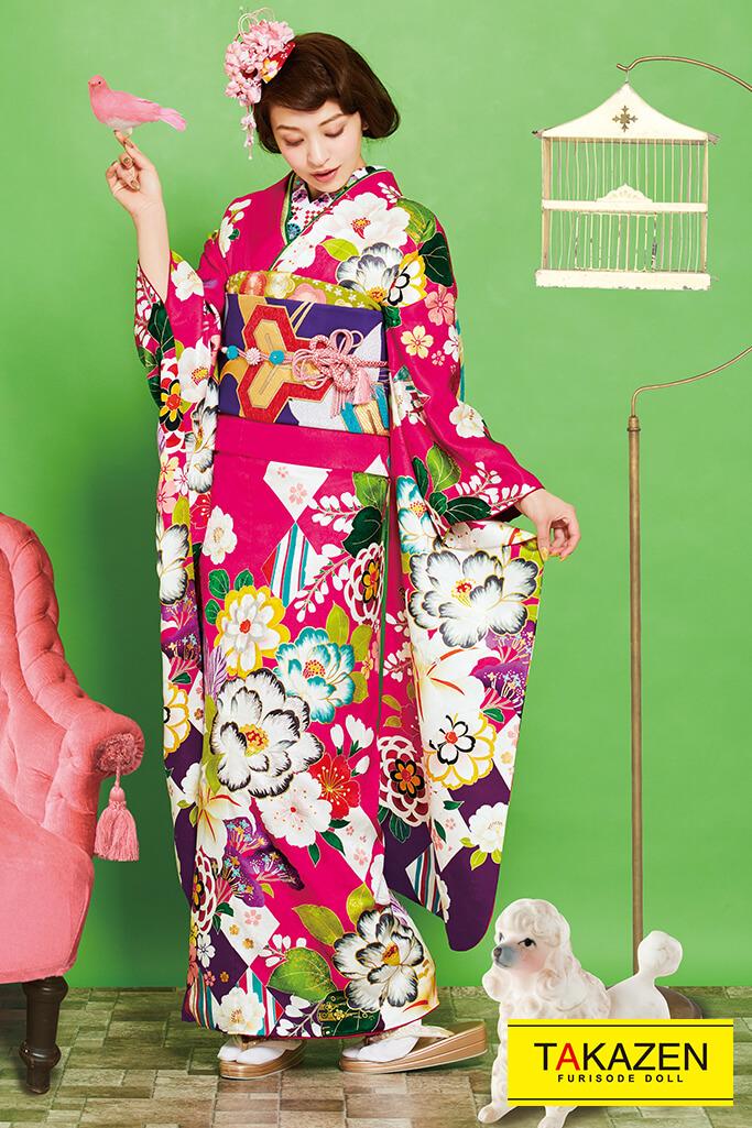 【成人式人気振袖/レンタルフルセット/通販可】華やかかわいい古典(目立つユリ柄) ピンク/ブルー(水色) K0202