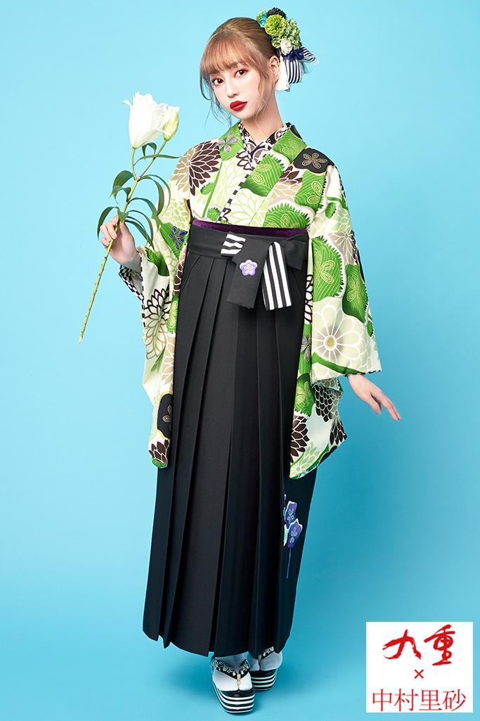 【卒業式袴レンタル/通販可】個性的かわいいレトロ(ポップな菊柄) 白/クリーム/グリーン(緑色) R21028