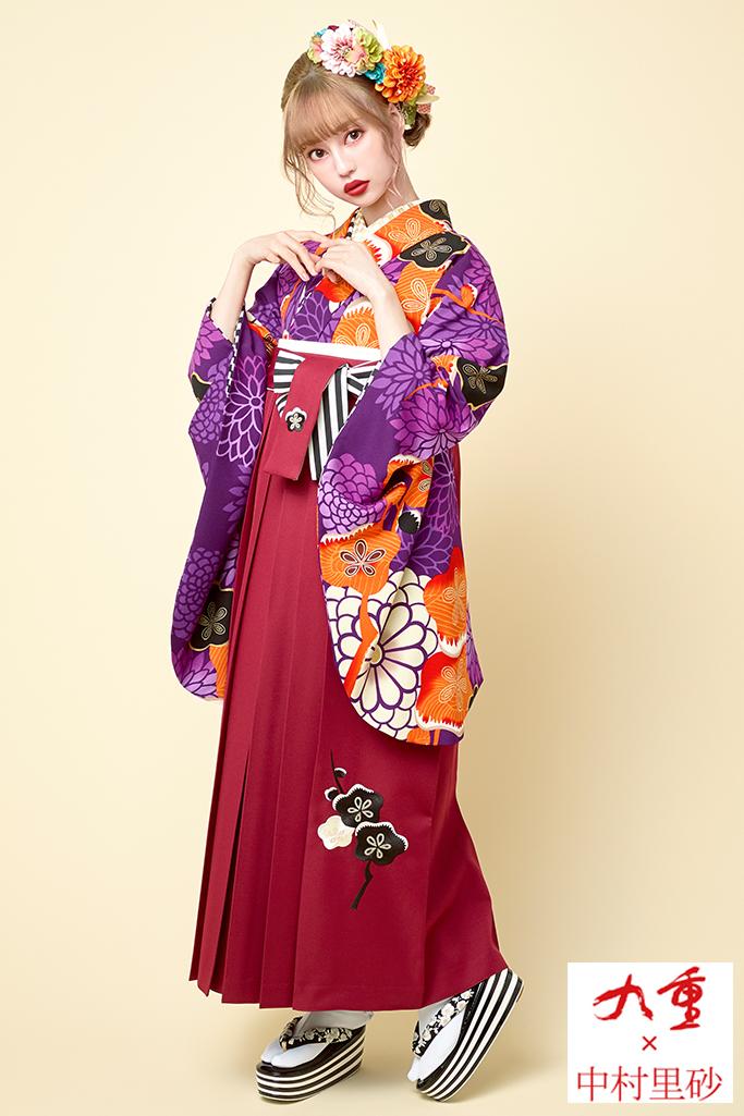 【卒業式袴レンタル/通販レンタル可】個性的派手レトロ(目立つ菊柄) 黒/紫/オレンジ R21029
