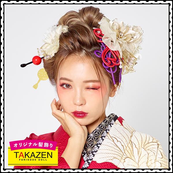 ジャパンモード振袖用髪型♡紐付きリボン髪飾り