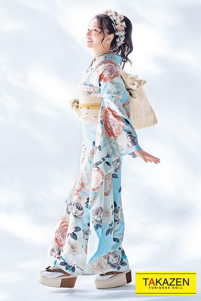 【成人式人気振袖/レンタルフルセット/通販可】かわいいヘップバーン(ゆるふわ) ベージュ/ブルー(水色)  2022年度新作☆22005