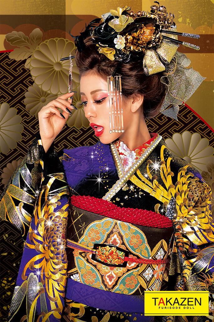 【成人式人気振袖/レンタルフルセット/通販可】絶対目立つジャパンモード(豪華かっこいい虎柄) 紫/ゴールド(金色) 2022年度新作☆22040