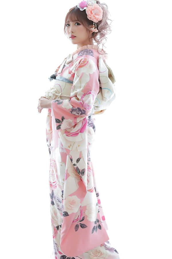 【成人式人気振袖/レンタルフルセット/通販可】ゆるふわかわいい系(キュートリボン柄) ピンク/白/紫 2022年新作☆22053