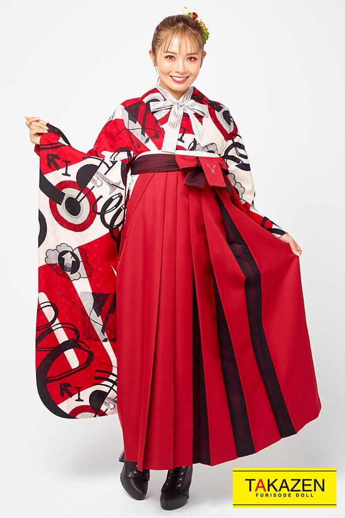 【卒業式袴レンタル/通販可】個性的レトロ目立つ(新作音符柄) 赤/黒/クリーム R21062