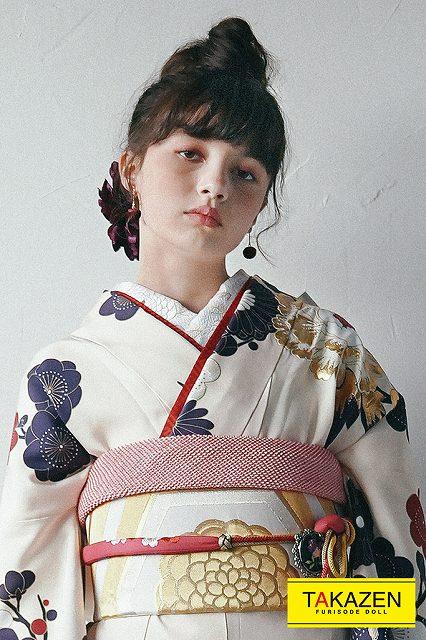 大正ロマン系大人華やかヴィンテージ古典2022年新作振袖(くすみカラー) 白/紺/アイボリー K212
