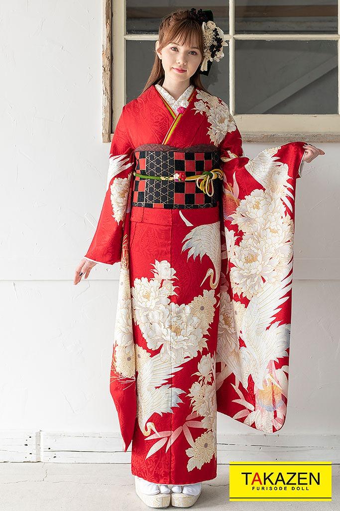 【成人式人気振袖/レンタルフルセット/通販可】東京レトロ ヴィンテージ振袖(おしゃれシンプル)鶴柄 赤/白 K224