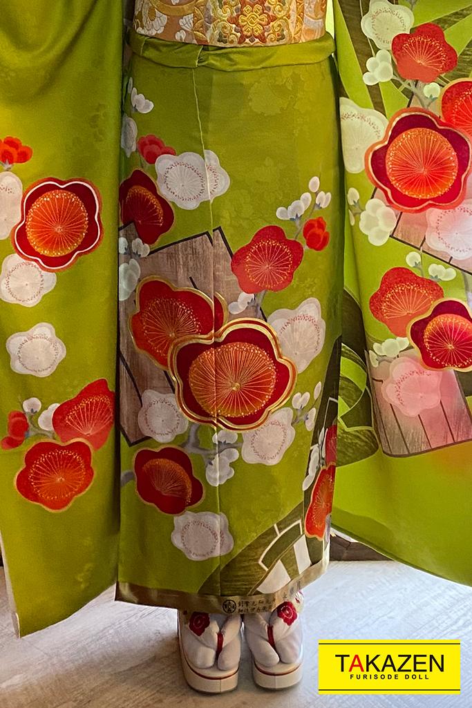 【成人式人気振袖/レンタルフルセット/通販可】上品おしとやか古典(大人かわいい) 鶸色/グリーン(黄緑)/オレンジ YK167