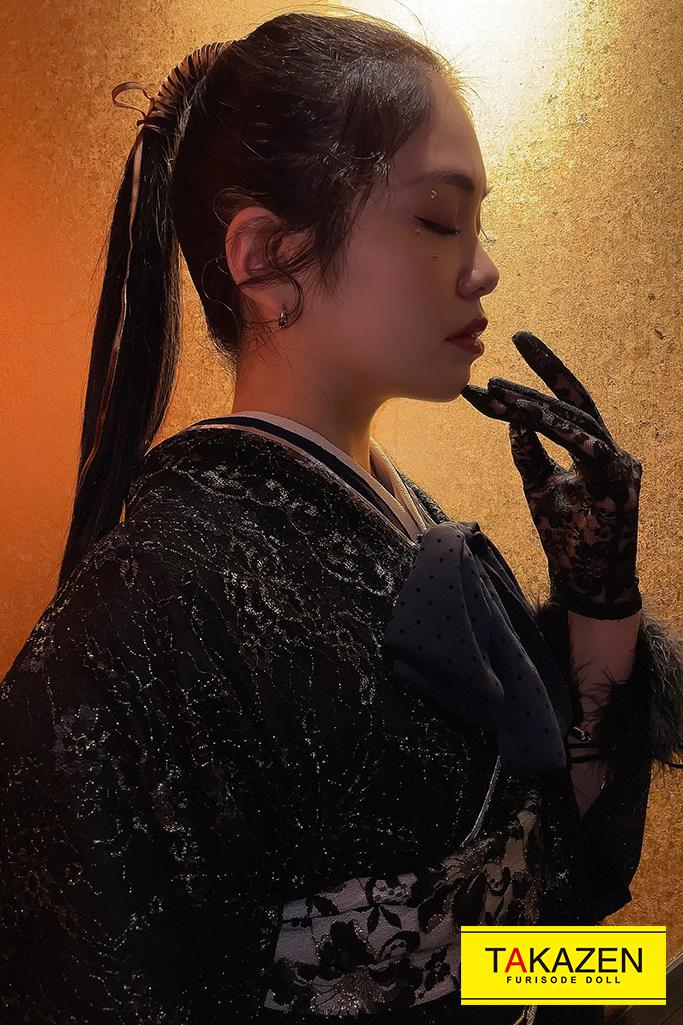 【成人式人気振袖/レンタルフルセット/通販可】アンティークレトロ(ラッセルレース) 黒 YK171
