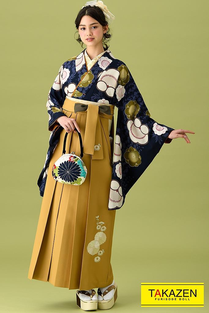 【卒業式袴レンタル/通販可】アンティーク調古典(かわいい梅柄) 紺/白/ネイビー K22001