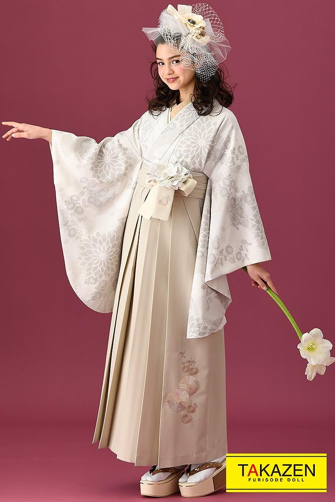 【卒業式袴レンタル/通販可】ヴィンテージ古典(今っぽおしゃれ同系色) 白/グレー K22005