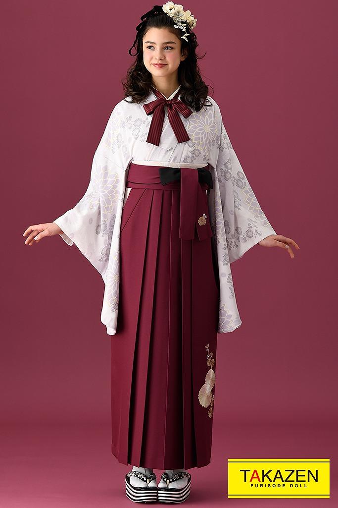 【卒業式袴レンタル/通販可】アンティーク調かわいい古典(モダン風) 白/薄紫/ラベンダー K22007