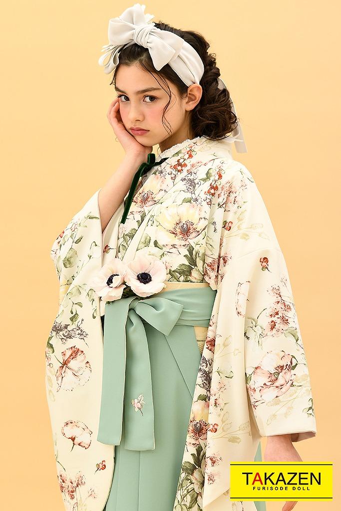 【卒業式袴レンタル/通販可】ヴィンテージレトロ(くすみカラー) クリーム/アイボリー K22009