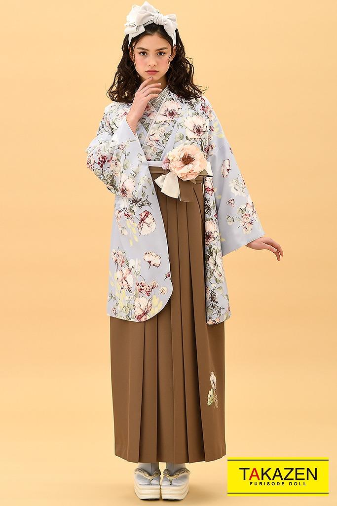 【卒業式袴レンタル/通販可】かわいいヴィンテージレトロ(くすみカラー) グレー/ベージュ K22011