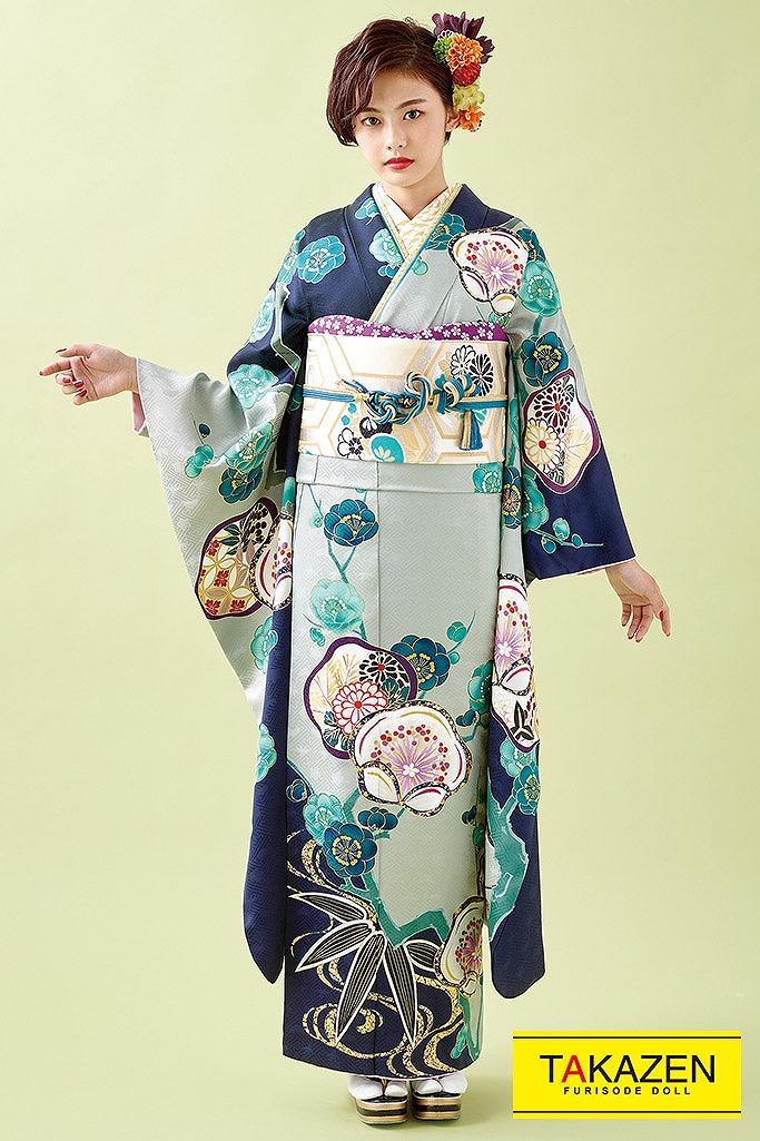 【成人式人気着物/レンタルフルセット/通販可】個性的かわいい古典(いおり) ブルー(青色)/クリーム K229