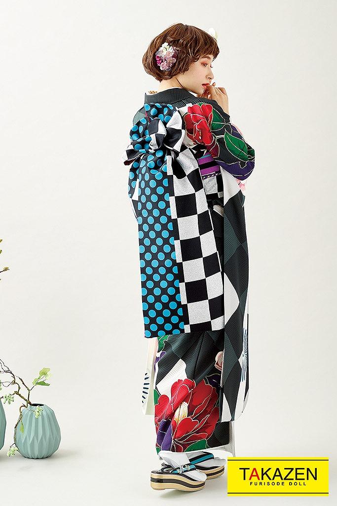 【成人式人気振袖/レンタルフルセット/通販可】個性的きれいめレトロ古典(mogafuri) 黒/クリーム/グレー K230