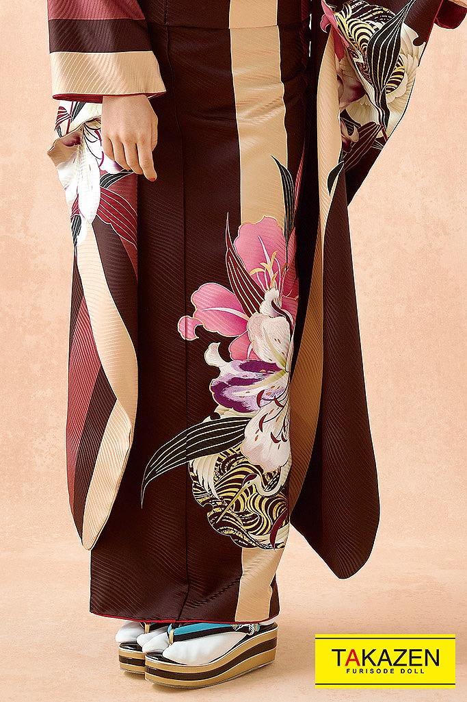 【成人式人気振袖/レンタルフルセット/通販可】アンティーク調ヴィンテージ(mogafuri) ブラウン(茶色)/ピンク K232