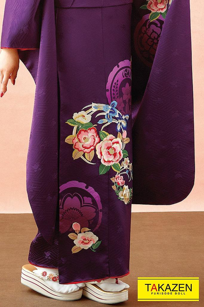【成人式人気着物/レンタルフルセット/通販可】柄少な目ヴィンテージレトロ(古風椿柄) 紫/ピンク K238