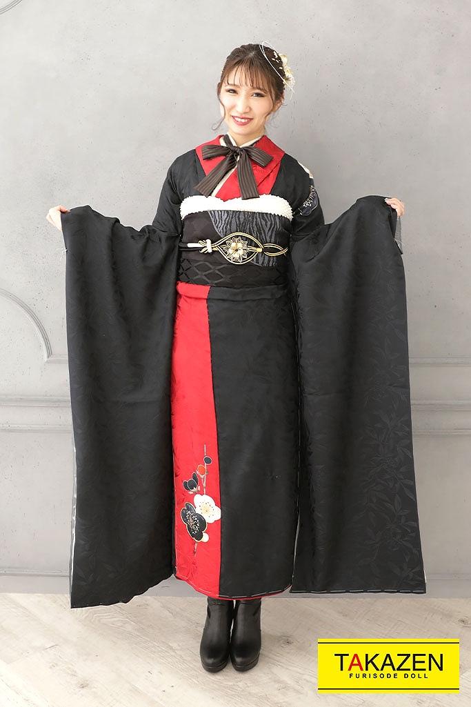 【成人式人気振袖/レンタルフルセット/通販可】個性的ヴィンテージレトロ(大人っぽかっこいい) 黒/赤 YK177