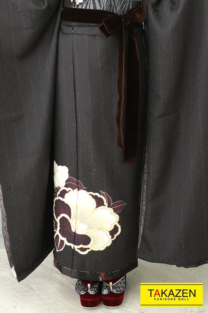 【成人式人気振袖/レンタルフルセット/通販可】大人っぽいヴィンテージレトロ(ノスタルジック) 黒/ブラウン(焦げ茶) YK178