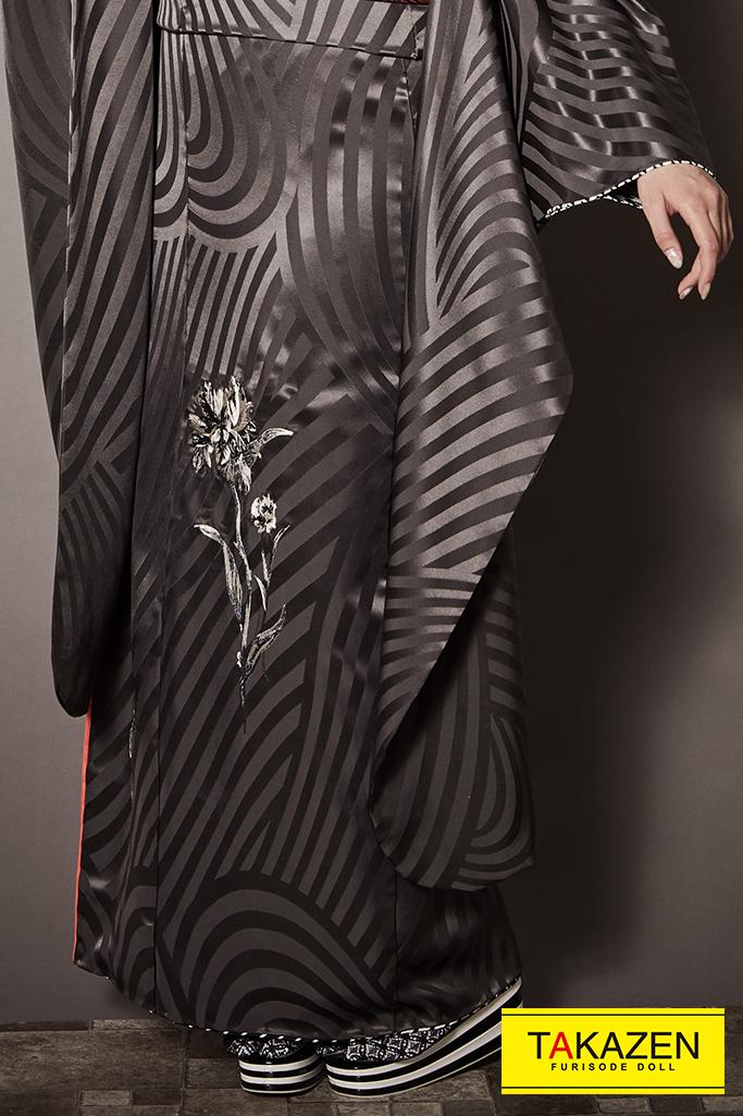 【成人式人気振袖/レンタルフルセット/通販可】すっきり柄大人っぽいレトロ(かっこいい) グレー/グレージュ K246