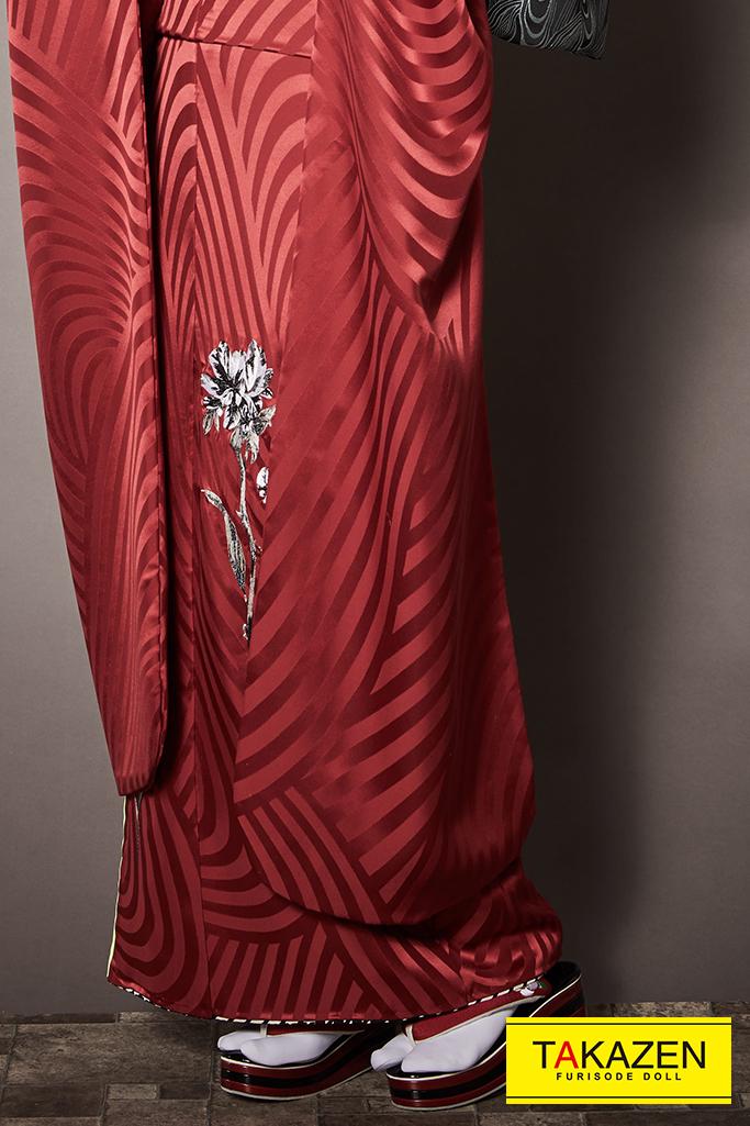 【成人式人気着物/アンティーク振袖/通販レンタル】大人っぽいヴィンテージレトロ(シック) 赤 K247