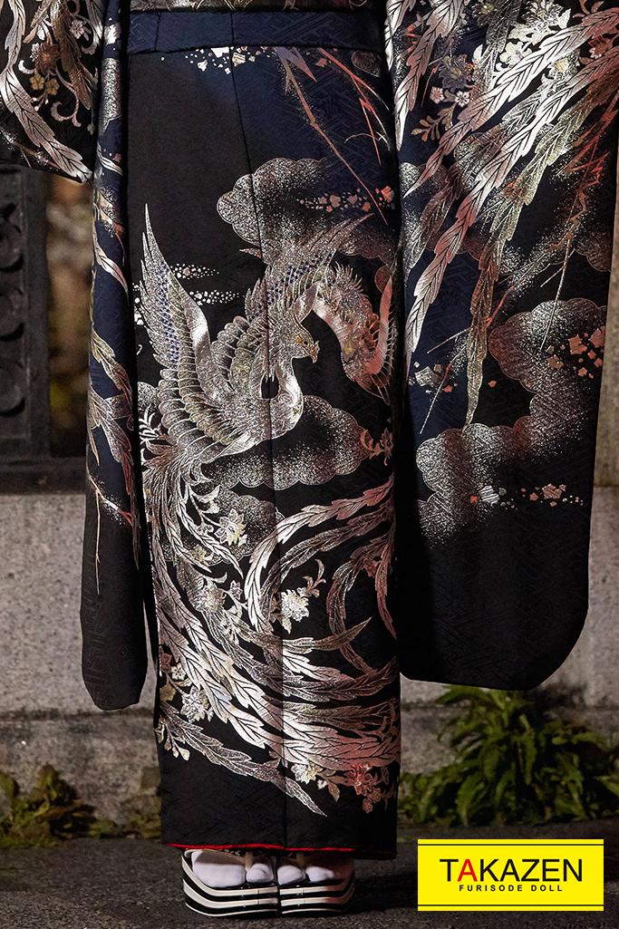 【成人式人気振袖/レンタルフルセット/通販可】花魁風高級金彩刺繍ジャパンモード(鳳凰柄) 黒/シルバー(銀色) K254