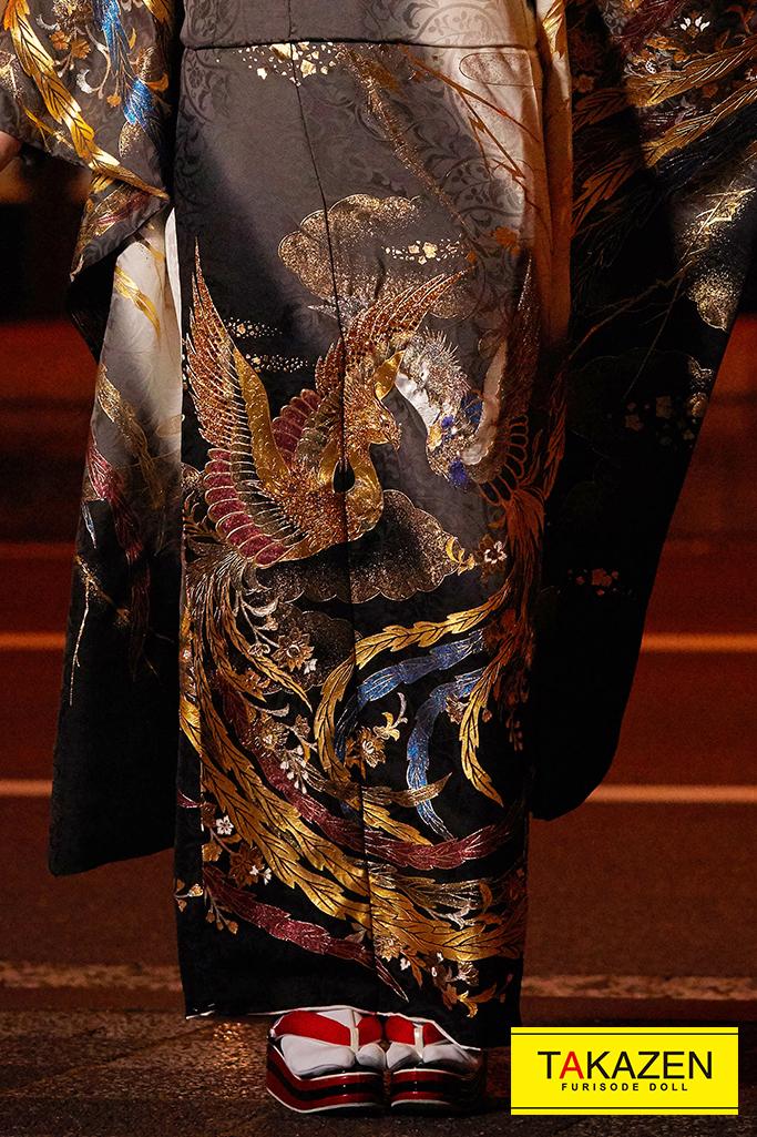 【成人式人気着物/レンタルフルセット/通販可】渋い高級金彩刺繍ジャパンモード(鳳凰柄) グレー/ゴールド(金色) K255