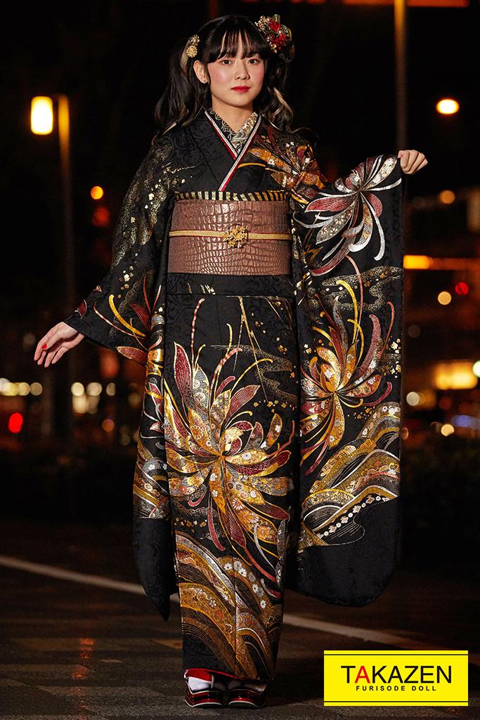 【成人式人気着物/レンタルフルセット/通販可】派手かっこいいモード系(ゴージャス大柄) 黒/ゴールド(金色) K257