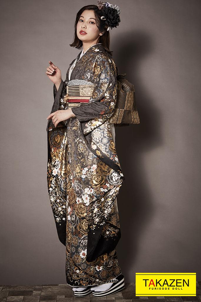 【成人式人気着物/レンタルフルセット/通販可】派手かっこいいモード系(グラマラス) グレージュ/ゴールド(金色) K258