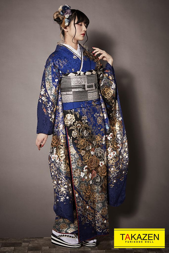 【成人式人気振袖/レンタルフルセット/通販可】目立つかっこいいクール系(派手かわいい) ブルー(青色)/ゴールド(金色) K259