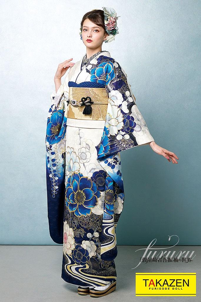 クール系上品おしゃれ古典(假屋崎省吾デザイン) 白/ブルー(青色) K270