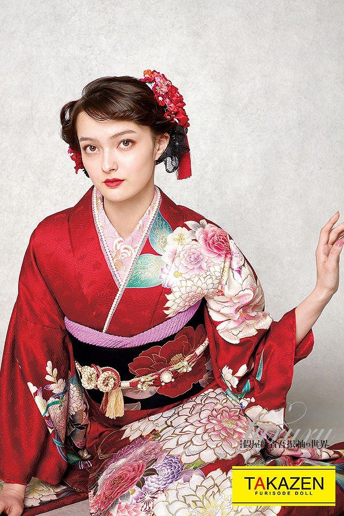 かわいいおしゃれヴィンテージ古典(假屋崎省吾デザイン) 赤/白/ピンク K271