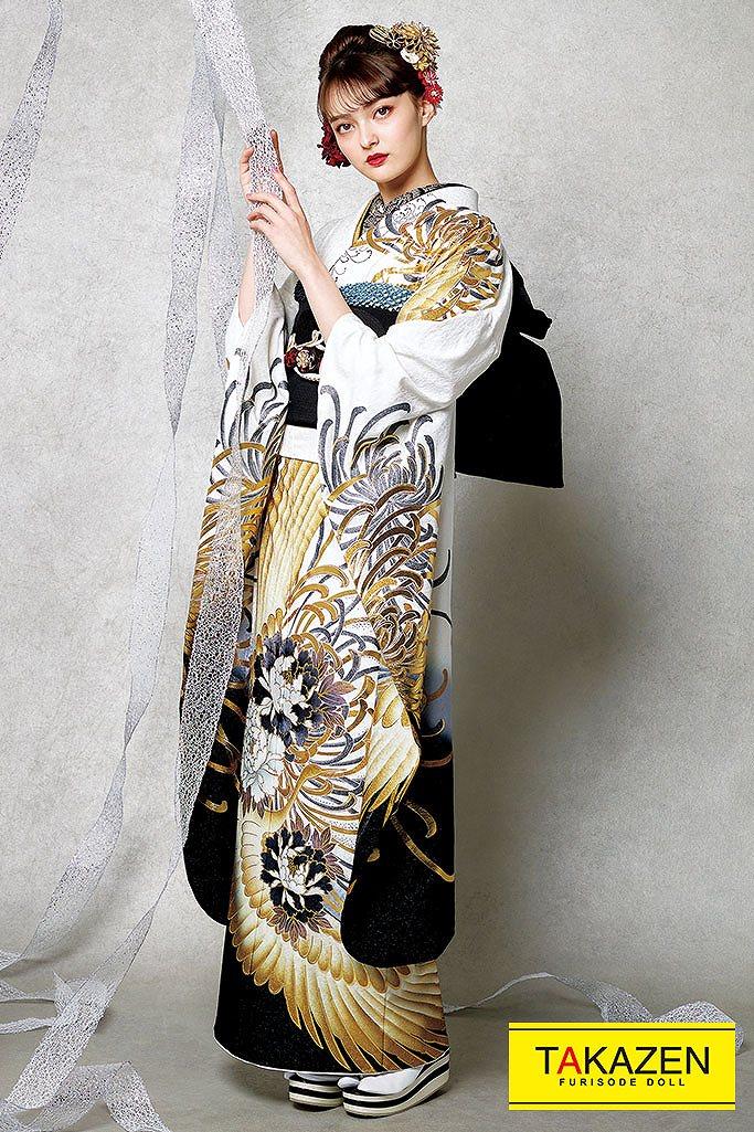 【成人式人気振袖/レンタルフルセット/通販可】かっこいい鶴柄金彩古典(プチブラン) 白/黒/ゴールド(金色) K281